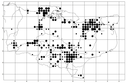 Figure 1. Distribution and abundance by tetrad of Nightingales in Kent in 2012
